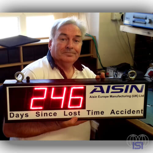 London Electronics Display for days since last accident Aisin