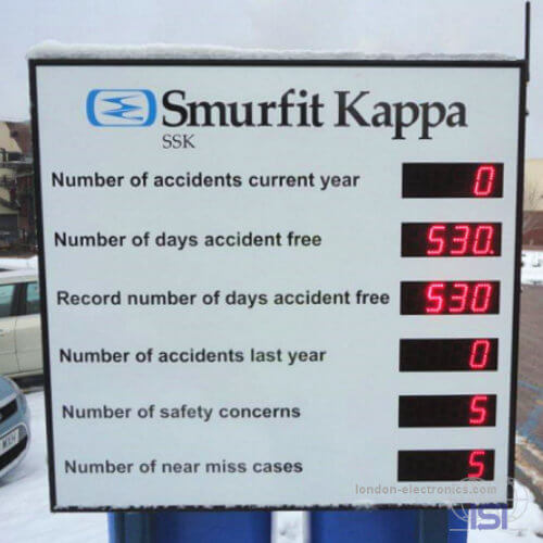 London Electronics Display for days since last accident Smurfit Kappa
